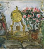 Still-Life with Azalea and clock 1974