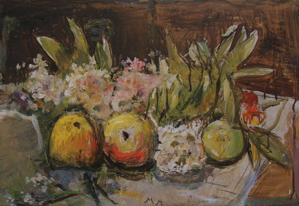 Still-life, Apples and Blossom on a Table (Schlenker 330)