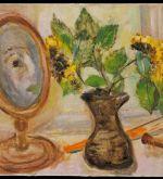 Self-Portrait in mirror, yellow roses (Schlenker 255)