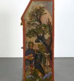 Painted cabinet with self-portrait at one end, 1961