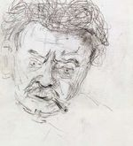 inv-636 Head of Elias Canetti, 1959 (study for painting of 1960 in Wien Museum, Schlenker 165)