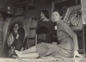 Marie-Louise von Motesiczky in her studio at 'Cornerways', Amersham, with Veza Canetti behind.